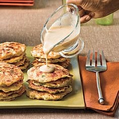 Great recipe from Southern Living. Chicken and Potato Pancakes. I make them with a different gravy recipe, but theirs sounds good too.