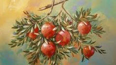 Image result for πινακες ζωγραφικης με ροδια Feasts Of The Lord, Pomegranate, Painting & Drawing, Still Life, Signage, Folk Art, Decoupage, Xmas, Painters