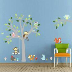 Grey Tree with Animals