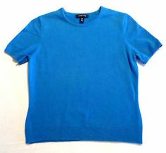 Womens Size XS 2-4 Lands' End Short Sleeve Sweater, Robins Egg Blue