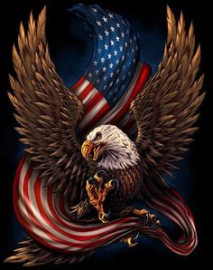 United States Bald Eagle with Flag, America Love It or Leave It, Patriotic Art on metal sign, vintage style garage art wall decor American Flag Decal, Eagle Drawing, Eagle Tattoos, Wolf Tattoos, Animal Tattoos, Vintage Metal Signs, Garage Art, American Pride, Eagle American