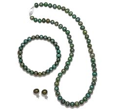 Pearl Necklace with Sterling Silver Clasp, Earrings with Sterling Silver Backings & Comfort Bracelet $49.96-$59.96 with gift box and 4 STAR REVIEW