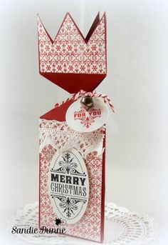 Christmas Cracker Treat Box by cailin - Cards and Paper Crafts at Splitcoaststampers Christmas Cards To Make, Christmas Crafts, Merry Christmas, Christmas Ornaments, Christmas Ideas, Christmas Crackers, Christmas Design, Pattern Paper, Happy Holidays
