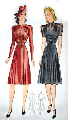 1940s Simplicity Sewing Tailored Pleats with a by HeritageFabrics, $19.00