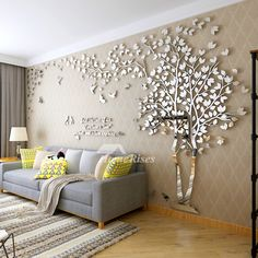 Online Shop # Big Tree Wall Murals for Living Room Bedroom Sofa Backdrop TV Background Wall Stickers Home Art Decorations Room Wall Decor, Diy Wall Decor, Bedroom Decor, Picture Wall Living Room, Tree Wall Decor, Living Room Pictures, Art Decor, Living Room Bedroom, Living Room Decor
