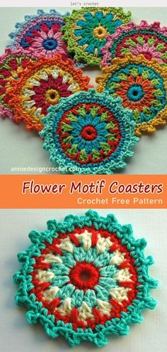 Crochet sweet and beautiful coasters using the Flower Motif Coasters Free Crochet Pattern. These Flower Motif Coasters are colorful, simple and stylish! Crochet Mittens Free Pattern, Crochet Motif Patterns, Free Crochet, Knit Crochet, Crochet Coaster, Crochet Flower Squares, Flower Motif, Crochet Flowers, Pattern Flower