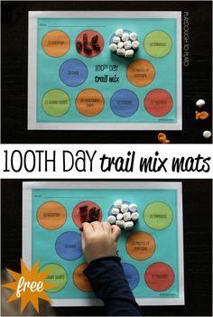 100th Day of School Trail Mix Mats - Playdough To Plato