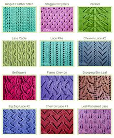 Lace Knitting Stitches | This website is a great resource for lace knitting stitches