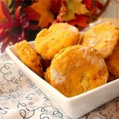 """Pumpkin Biscuits   """"Next time maybe some more brown sugar and cinnamon. I mixed up some butter and maple syrup (oops no honey...) and that made them wonderful snacks!"""""""