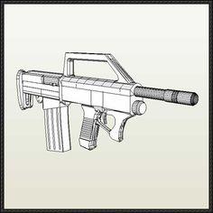 HAWK Submachine Gun Free Paper Model Download - http://www.papercraftsquare.com/hawk-submachine-gun-free-paper-model-download.html