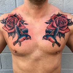 Rose tattoos for men, arm tattoos for guys, tatto for men, rose chest Rose Tattoos For Men, Small Tattoos For Guys, Trendy Tattoos, New Tattoos, Cross Tattoos, Tattoos Skull, Rose Chest Tattoo, Chest Piece Tattoos, Mens Floral Chest Tattoo