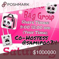 Sign up is now closed.          💞 🐼 Sat🐼💞 🐼Sign up with your tag @_____.                         🐼Share 10 bag items per person signed up.      🐼Sharing begins at 9am & sign out by 12pm.      🐼Share some, mark the last person shared.      🐼 If they don't have 10, share until 10 are met.    🐼 Co-Hostess is Dawn @samipoo24.                 🐼 we have sold thousands of bags and are       happy to have you! Go Pink Pandas! Please don't miss days and if so, please make them up. 2…