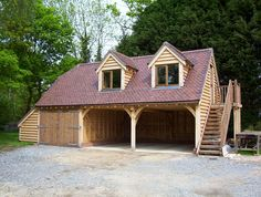 Classic carport garage with 39 lean to 39 log store fibre for 3 bay garage cost