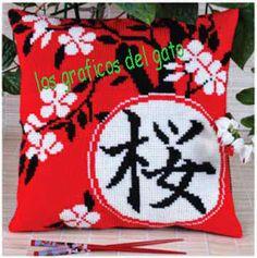 Gráficos para realizar preciosos cojines chinos con kanjis...