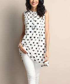 This White Heart Notch Neck Pin Tuck Sleeveless Tunic is perfect! #zulilyfinds