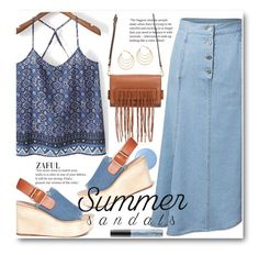 """The Cutest Summer Sandals"" by beebeely-look ❤ liked on Polyvore featuring Essie, Rebecca Minkoff, Pedder Red, sandals, Denimondenim, denimskirt, summersandals and zaful"