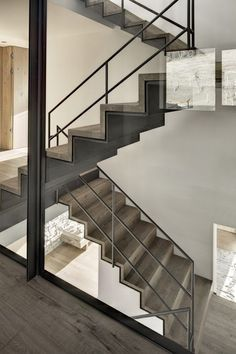 wood and steel layered stairs