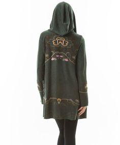 Look at this #zulilyfind! Hunter Green Embroidered Hooded Open Cardigan #zulilyfinds