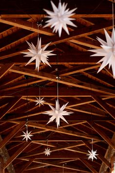 Moravian Stars hanging from a bridge in Old Salem North Carolina-love your heritage