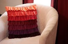 Plum Peachy Ruffled Pillow. Frilly and colorful, the Plum Peachy Ruffled Pillow will add a little flavor to your room. The bright peach and dark plum colors pop against lighter furniture or bedding. Learn how to make a decorative pillow with this easy pattern and tutorial. #sewing