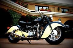 """Saw a biker shifting on his left side. I asked hubby & he said older bikes has a side shifter. Who knew!  Not me! Very Interesting. '47 suicide shifter Chief'. There must be a reason for the name """"Suicide shifter""""..."""