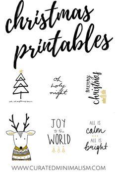 Christmas Printables || Holiday Printables || Christmas Art Prints || Christmas Prints || Reindeer || Christmas Tree || Oh Holy Night || Merry Christmas || Joy To The World || All is Calm All is Bright || Holiday Printable || Christmas 2017