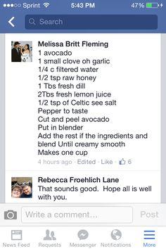 Avocado dill dip for veggies