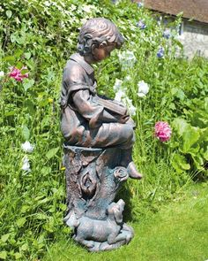 Superb Bronze Reading Boy Figure Sculpture Small Garden Statue. Buy Now Atu2026