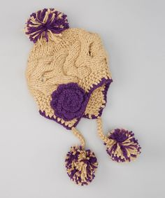 Another great find on #zulily! Jeanne Simmons Accessories Taupe & Purple Pom-Pom Earflap Beanie by Jeanne Simmons Accessories #zulilyfinds