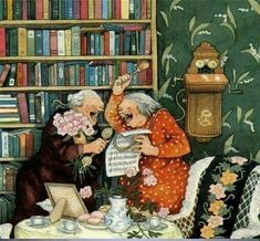 Ideas Funny Illustration Inge Look For 2019 Old Lady Humor, Nordic Art, Funny Illustration, Whimsical Art, Funny Art, Girl Humor, Belle Photo, Old Women, Illustrators