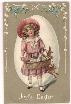 EAS Joyful Easter Girl with basket of Bunny Rabbits  Postcard picclick.com