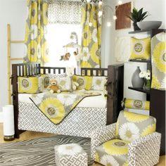 yellow/gray crib bedding