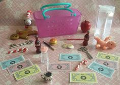 Huge Lot Dollhouse Miniature & Barbie Food Grocery Shopping Basket + Accessories #Various
