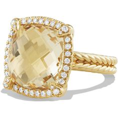David Yurman 14mm Châtelaine 18K Champagne Citrine Ring with Diamonds ($4,140) ❤ liked on Polyvore featuring jewelry, rings, diamond rings, citrine jewelry, david yurman jewelry, citrine rings and diamond jewellery