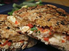 Chicken and Roasted Pepper Panini from Food.com: This panini uses sub rolls, jarred roasted red peppers, olives and provolone cheese. You can also use leftover chicken for this sandwich. If you have a Panini Maker this will go even faster. From Cook's Country, July 2008.