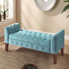 HomePop Velvet Tufted Storage Bench / Settee (Velvet Tifted T Entryway Bench Storage, Upholstered Storage Bench, Bench With Storage, Tufted Bench, Storage Benches, Ottoman Bench, Chaise Sofa, Furniture Storage, Furniture Decor
