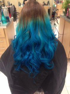 Blue tipped ombré Blue Tips, Long Hair Styles, Beauty, Beleza, Long Hair Hairdos, Long Hairstyles, Long Hairstyle, Long Haircuts