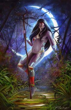 A deusa da Lua e da Noite seria responsável pela magia e encanto dos homens. Teria sido criada por Tupã para dar beleza à Terra. Irmã de Iara (deusa dos lagos serenos), Jaci tornou-se esposa do próprio Tupã. Outras versões da mitologia indígena dizem que Jaci seria esposa e/ou irmã Guaraci, o deus Sol. Jaci é equivalente a Vishnu  dos hindus e Ísis dos egípcios.