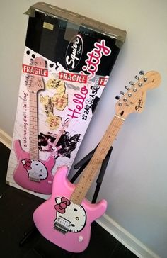 Hello Kitty Stratocaster Electric Guitar by Fender (Squier) inc. extras