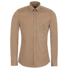 Gucci Taupe Cotton Crest Print Slim-Fit Shirt ($325) ❤ liked on Polyvore featuring men's fashion, men's clothing, men's shirts, men's casual shirts, mens slim fit shirts, mens patterned shirts, mens print shirts, gucci mens shirts and mens slim fit casual shirts