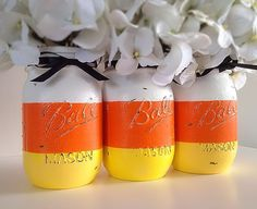 Sweet candy corn mason jars, perfect for Halloween. #POPSUGARSmartLiving