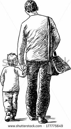 man with little son - stock vector Human Figure Sketches, Human Sketch, Human Figure Drawing, Figure Sketching, Abstract Pencil Drawings, Collage Drawing, Abstract Sketches, Music Drawings, Art Drawings Sketches Simple