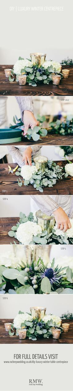 Bride to Be Reading ~ How beautiful and some what simple for a winter wedding centerpiece! DIY flowers :)