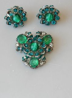 Vintage Miriam Haskell Brooch Pin Earrings Art Glass Crystals Green Teal #116 #MiriamHaskell