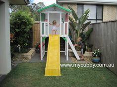 A beautiful little fort that works perfectly in a small backyard.  #Australia #AussieKids #AustralianBackyards #Yellow #Slide #Fort #Play #BackyardFun #Cubby