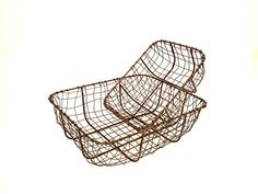 Vintage Copper Wire Metal Basket Rustic Storage Container Trug 2 Sizes Available: Amazon.co.uk: Kitchen & Home
