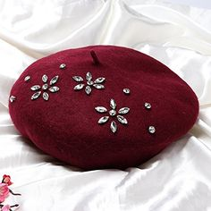 Rhinestones wool beret hat for women fashion winter hats Fascinator Hats, Fascinators, French Beret Hat, Wool Berets, Embroidery Jewelry, Hat Hairstyles, Hat Making, Fashion Hats, Fashion Women
