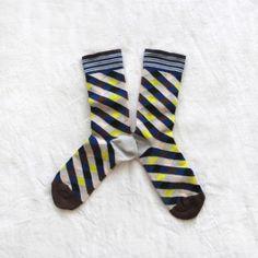 Chaussettes Bonne Maison / Bonne Maison socks - Losanges Bleu Jaune