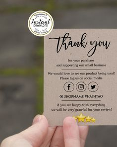 Business Thank You Notes, Small Business Cards, Craft Business, Thank You Card Design, Thank You Card Template, Kraft Packaging, Thank You Customers, Photo Deco, Thanks Card