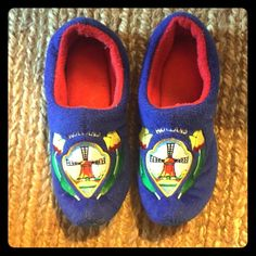 """Slippers Plush Dutch """"wooden"""" clog style slippers from Amsterdam. Fits sizes 5-8 approximately. Shoes Slippers"""